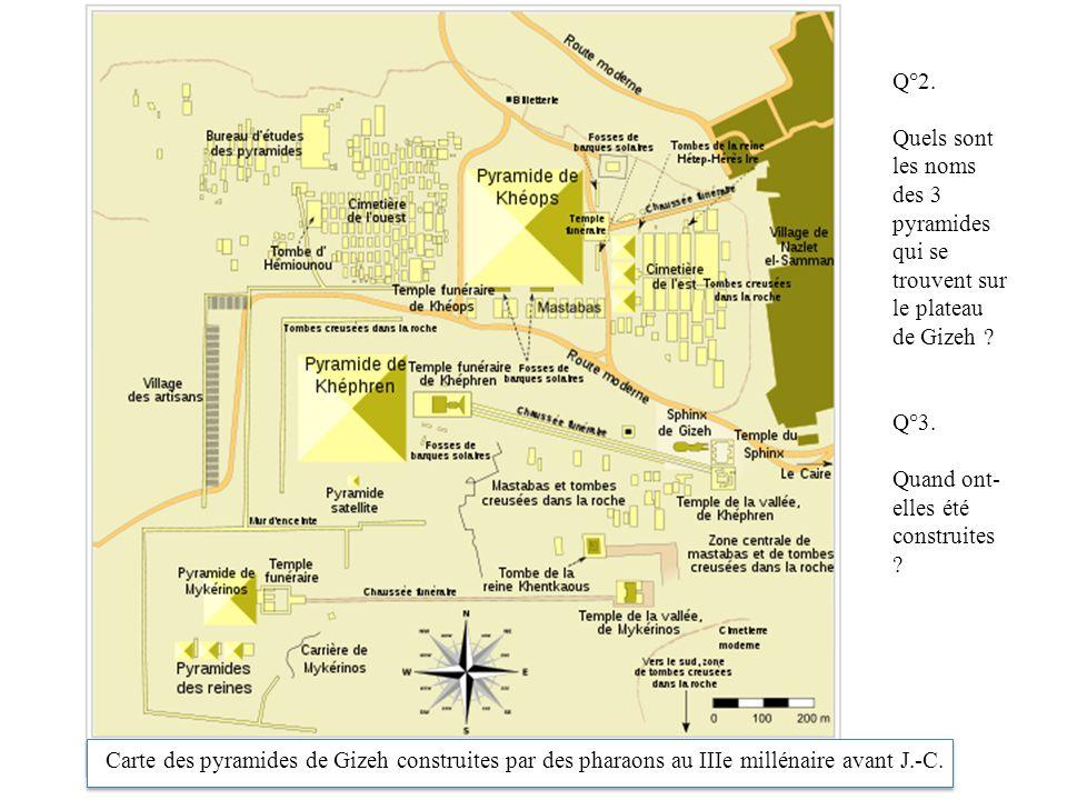 Q°2. Quels sont les noms des 3 pyramides qui se trouvent sur le plateau de Gizeh ? Q°3. Quand ont- elles été construites ? Carte des pyramides de Gize