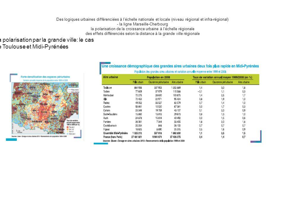 Des logiques urbaines différenciées à l'échelle nationale et locale (niveau régional et infra-régional) - la ligne Marseille-Cherbourg la polarisation de la croissance urbaine à l'échelle régionale des effets différenciés selon la distance à la grande ville régionale La polarisation par la grande ville: le cas de Toulouse et Midi-Pyrénées
