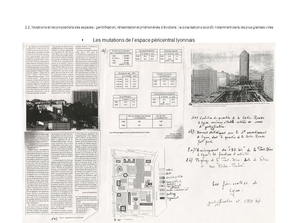 2.2. Mutations et recompositions des espaces : gentrification, réhabilitation et phénomènes d'évictions : la polarisation s'accroît, notamment dans le