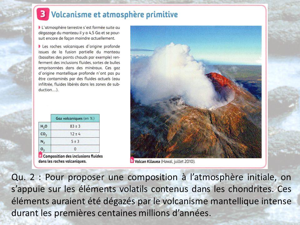 Qu. 2 : Pour proposer une composition à l'atmosphère initiale, on s'appuie sur les éléments volatils contenus dans les chondrites. Ces éléments auraie