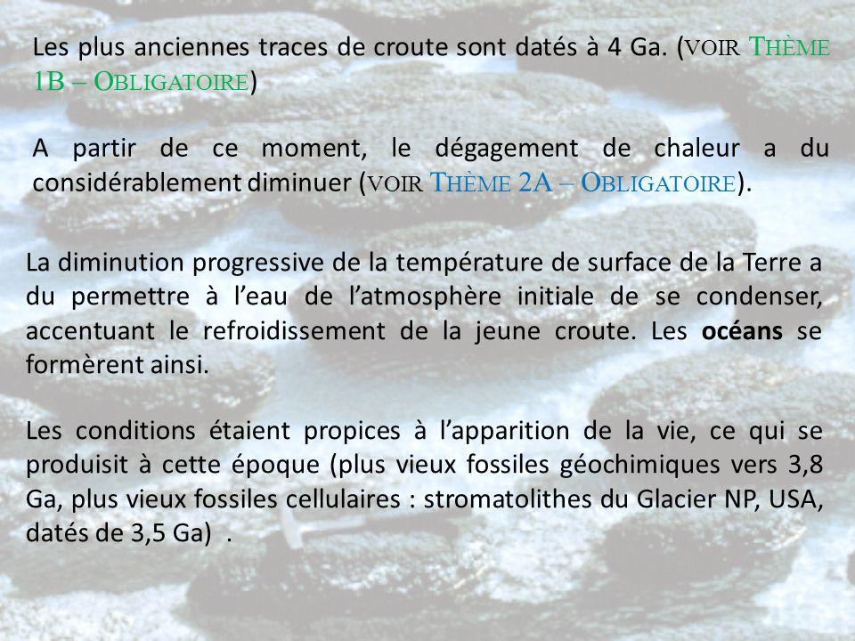Les plus anciennes traces de croute sont datés à 4 Ga. ( VOIR T HÈME 1B – O BLIGATOIRE ) A partir de ce moment, le dégagement de chaleur a du considér