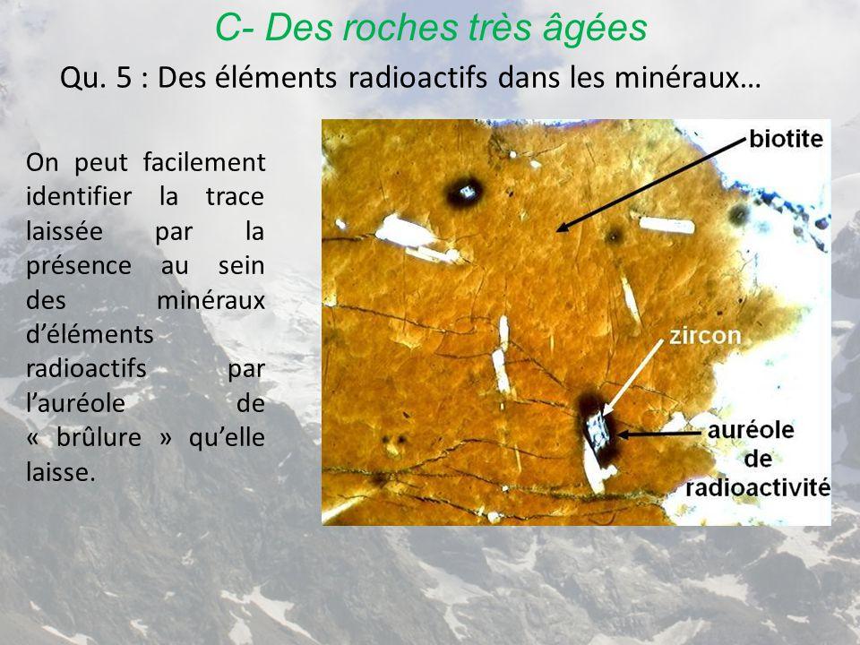 C- Des roches très âgées Qu. 5 : Des éléments radioactifs dans les minéraux… On peut facilement identifier la trace laissée par la présence au sein de
