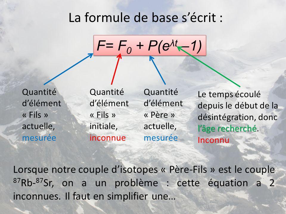 La formule de base s'écrit : F= F 0 + P(e λt –1) Quantité d'élément « Fils » actuelle, mesurée Quantité d'élément « Fils » initiale, inconnue Quantité