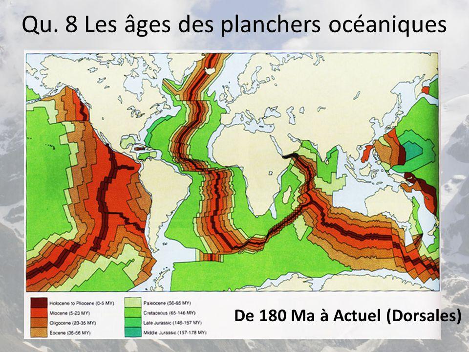 Qu. 8 Les âges des planchers océaniques De 180 Ma à Actuel (Dorsales)