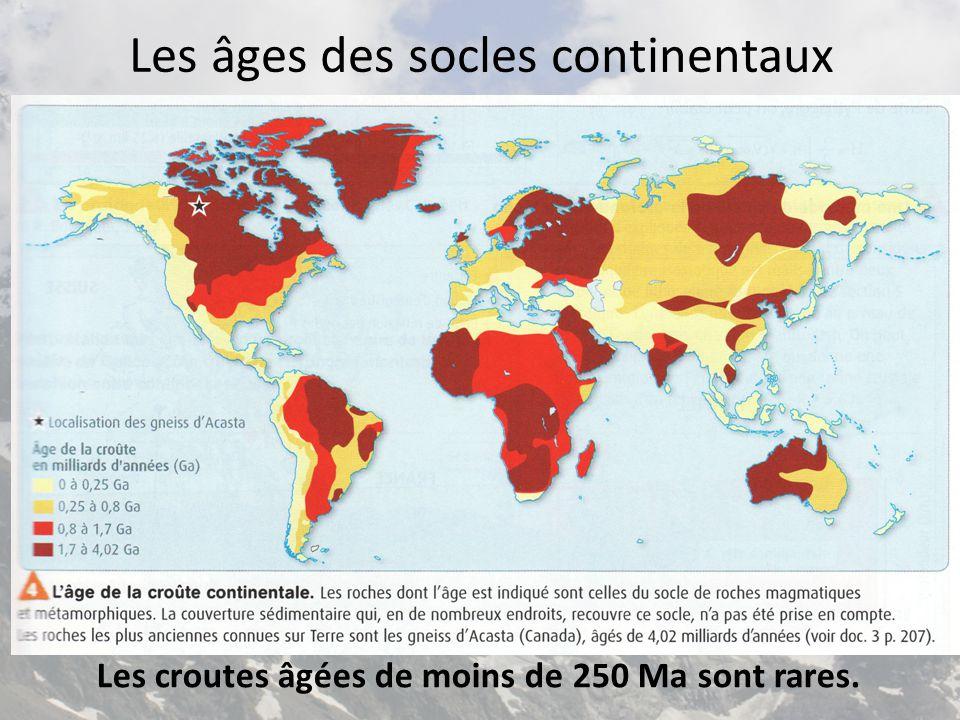 Les âges des socles continentaux Les croutes âgées de moins de 250 Ma sont rares.