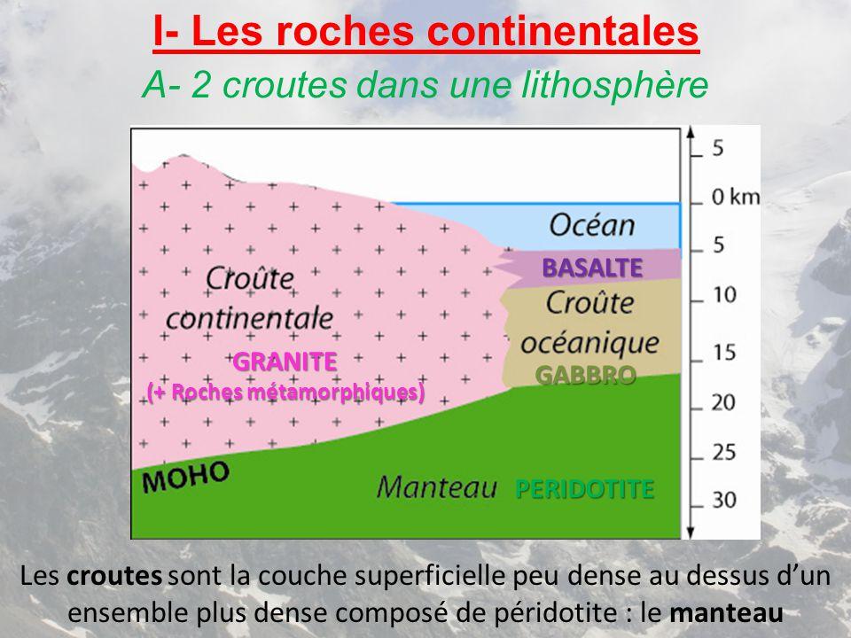 I- Les roches continentales A- 2 croutes dans une lithosphère GRANITE (+ Roches métamorphiques) BASALTE GABBRO PERIDOTITE Les croutes sont la couche s