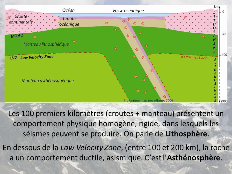Les 100 premiers kilomètres (croutes + manteau) présentent un comportement physique homogène, rigide, dans lesquels les séismes peuvent se produire. O