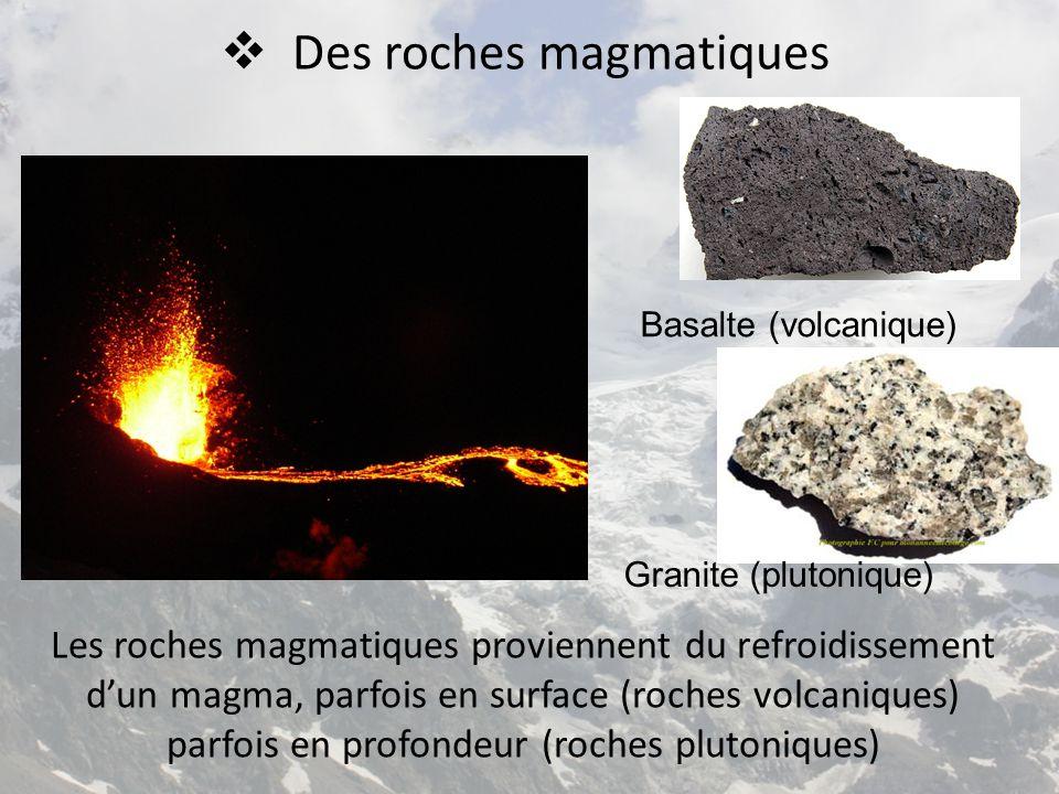  Des roches magmatiques Les roches magmatiques proviennent du refroidissement d'un magma, parfois en surface (roches volcaniques) parfois en profonde