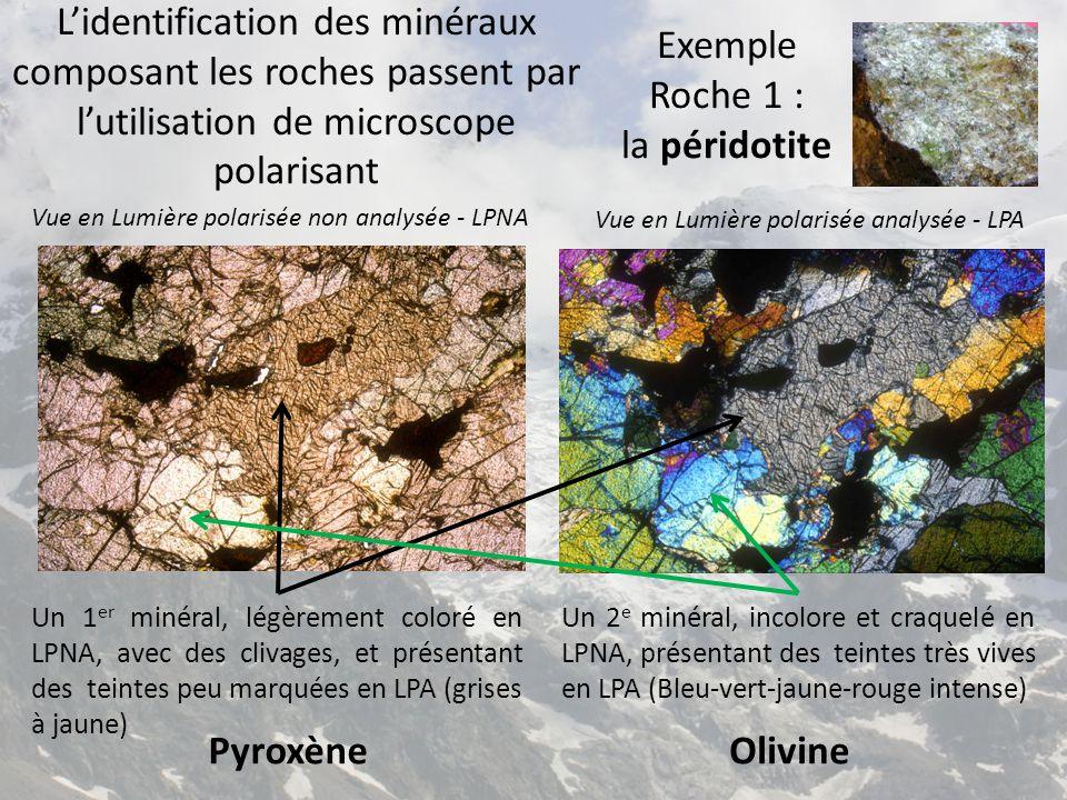 Vue en Lumière polarisée non analysée - LPNAVue en Lumière polarisée analysée - LPA Un 2 e minéral, incolore et sans relief en LPNA, en LPNA, présentant en LPA un aspect en 2 moitiés polarisant différemment en teintes grises Un 1 er minéral, très abondant, incolore et sans relief en LPNA, en teintes grises en LPA Feldspath - Albite Quartz Roche 2 : le Granite Structure : grenue, cristaux visibles et jointifs Un 3 e minéral, en tache brun rouge pléiochroique en LPNA, et polarisant dans des teintes peu visibles en LPA Mica noir- Biotite