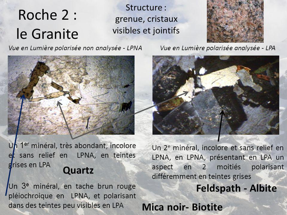 Vue en Lumière polarisée non analysée - LPNAVue en Lumière polarisée analysée - LPA Un 2 e minéral, incolore et sans relief en LPNA, en LPNA, présentant en LPA un aspect en 2 moitiés polarisant différemment en teintes grises Un 1 er minéral, très abondant, incolore et sans relief en LPNA, en teintes grises en LPA Feldspath - Albite Quartz Roche 3 : le Gneiss Structure : grenue, cristaux visibles et présentant une foliation (lits clairs et lits sombres alternés) Un 3 e minéral, en tache brun rouge pléiochroique en LPNA, et polarisant dans des teintes peu visibles en LPA Mica noir- Biotite