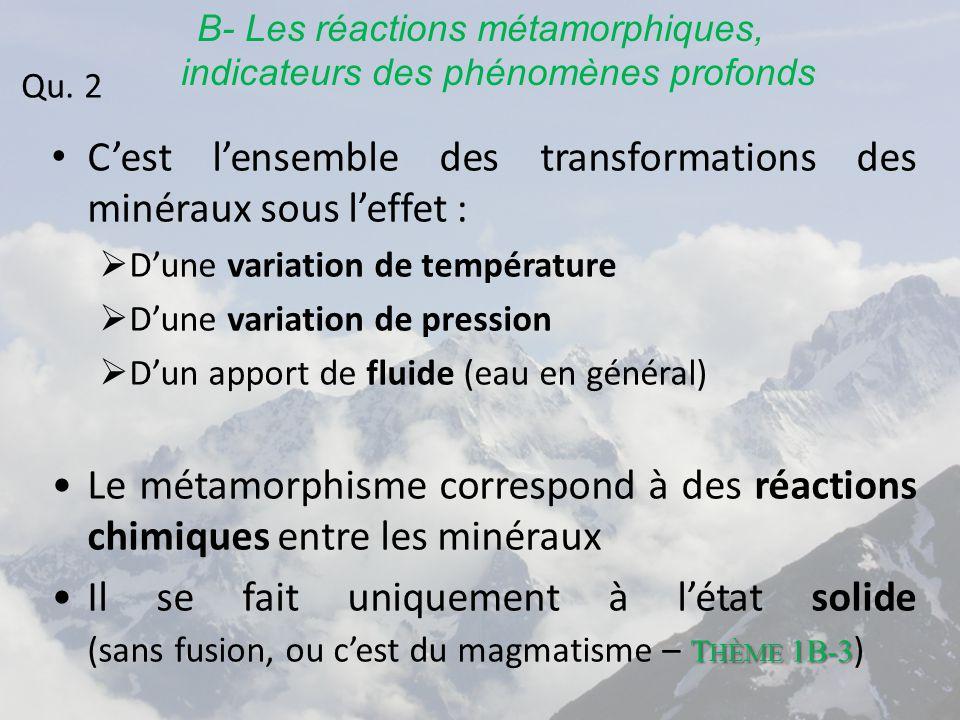 B- Les réactions métamorphiques, indicateurs des phénomènes profonds C'est l'ensemble des transformations des minéraux sous l'effet :  D'une variation de température  D'une variation de pression  D'un apport de fluide (eau en général) Le métamorphisme correspond à des réactions chimiques entre les minéraux T HÈME 1B-3Il se fait uniquement à l'état solide (sans fusion, ou c'est du magmatisme – T HÈME 1B-3 ) Qu.