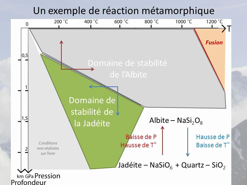 Un exemple de réaction métamorphique Albite – NaSi 2 O 8 Jadéite – NaSiO 6 + Quartz – SiO 2 Domaine de stabilité de l'Albite Domaine de stabilité de la Jadéite Hausse de P Baisse de T° Baisse de P Hausse de T°