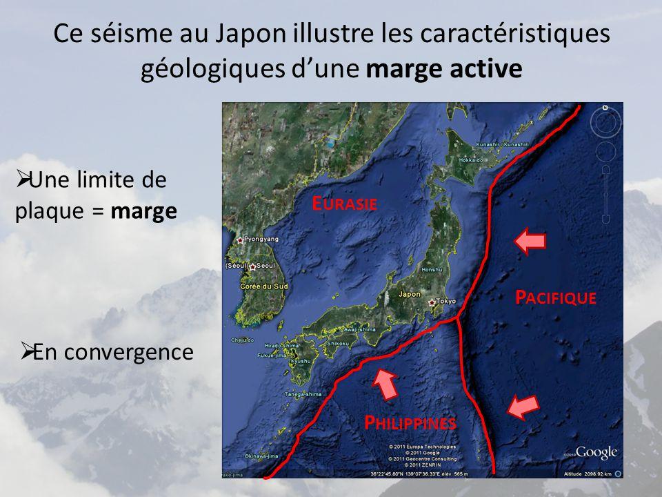 Ce séisme au Japon illustre les caractéristiques géologiques d'une marge active  Une limite de plaque = marge P ACIFIQUE P HILIPPINES E URASIE  En convergence