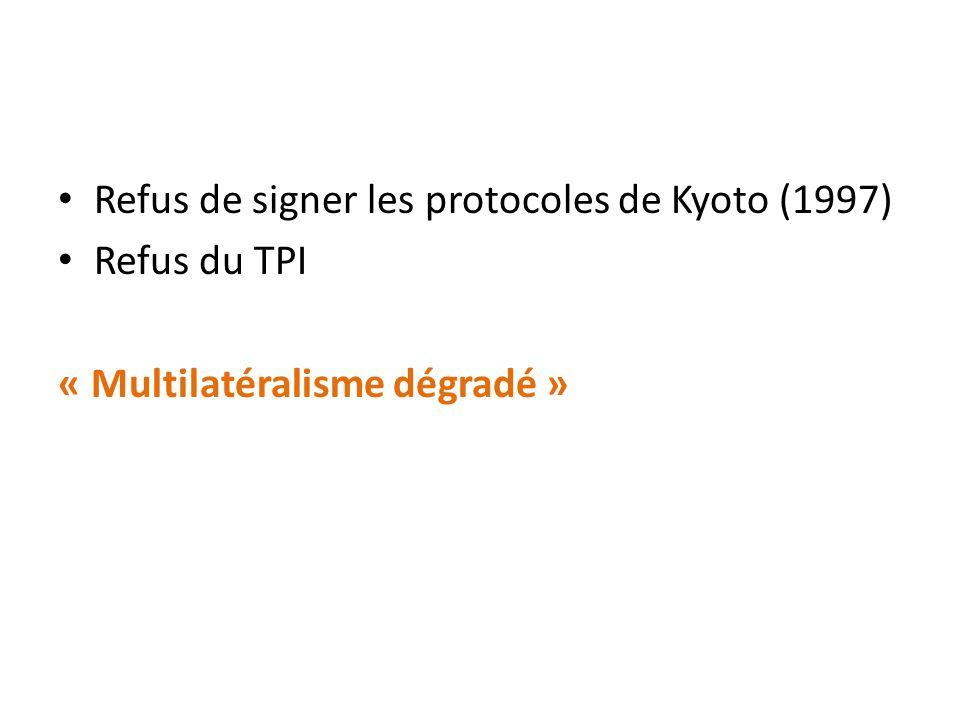Refus de signer les protocoles de Kyoto (1997) Refus du TPI « Multilatéralisme dégradé »