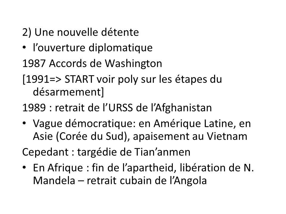2) Une nouvelle détente l'ouverture diplomatique 1987 Accords de Washington [1991=> START voir poly sur les étapes du désarmement] 1989 : retrait de l