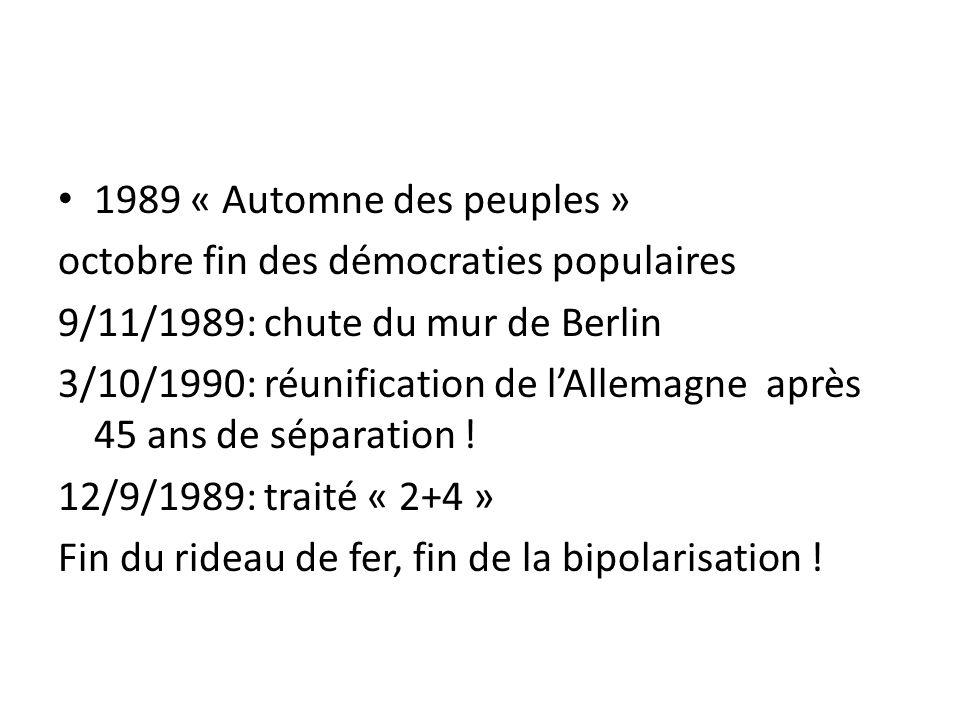1989 « Automne des peuples » octobre fin des démocraties populaires 9/11/1989: chute du mur de Berlin 3/10/1990: réunification de l'Allemagne après 45