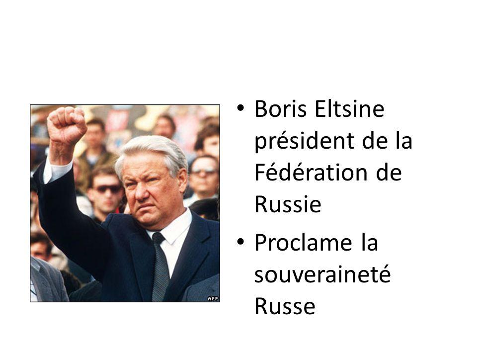 Boris Eltsine président de la Fédération de Russie Proclame la souveraineté Russe