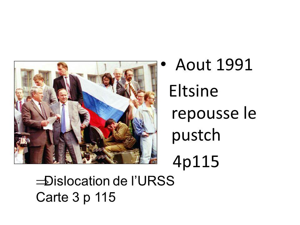 Création de la CEI Démission de Gorbatchev le 25/12/1991 Le siège de permanent à l'ONU revient à la Russie de B.