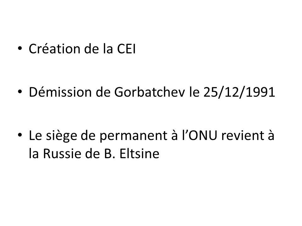 Création de la CEI Démission de Gorbatchev le 25/12/1991 Le siège de permanent à l'ONU revient à la Russie de B. Eltsine