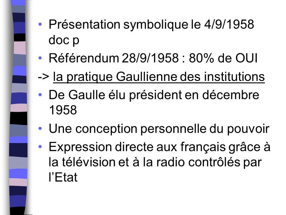 Présentation symbolique le 4/9/1958 doc p Référendum 28/9/1958 : 80% de OUI -> la pratique Gaullienne des institutions De Gaulle élu président en déce