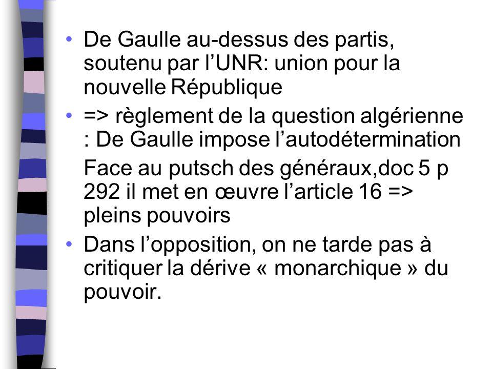 De Gaulle au-dessus des partis, soutenu par l'UNR: union pour la nouvelle République => règlement de la question algérienne : De Gaulle impose l'autod