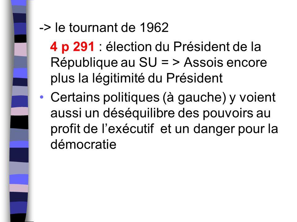 -> le tournant de 1962 4 p 291 : élection du Président de la République au SU = > Assois encore plus la légitimité du Président Certains politiques (à