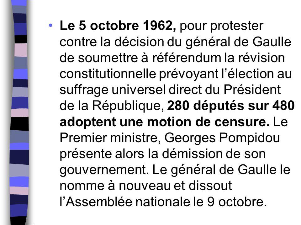 Le 5 octobre 1962, pour protester contre la décision du général de Gaulle de soumettre à référendum la révision constitutionnelle prévoyant l'élection