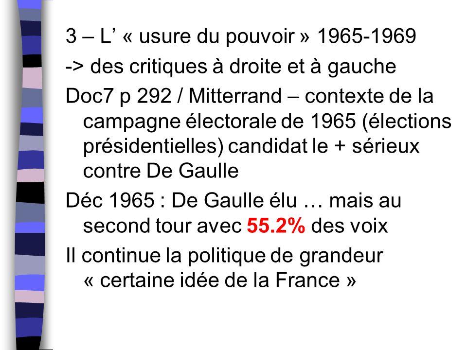 3 – L' « usure du pouvoir » 1965-1969 -> des critiques à droite et à gauche Doc7 p 292 / Mitterrand – contexte de la campagne électorale de 1965 (élec