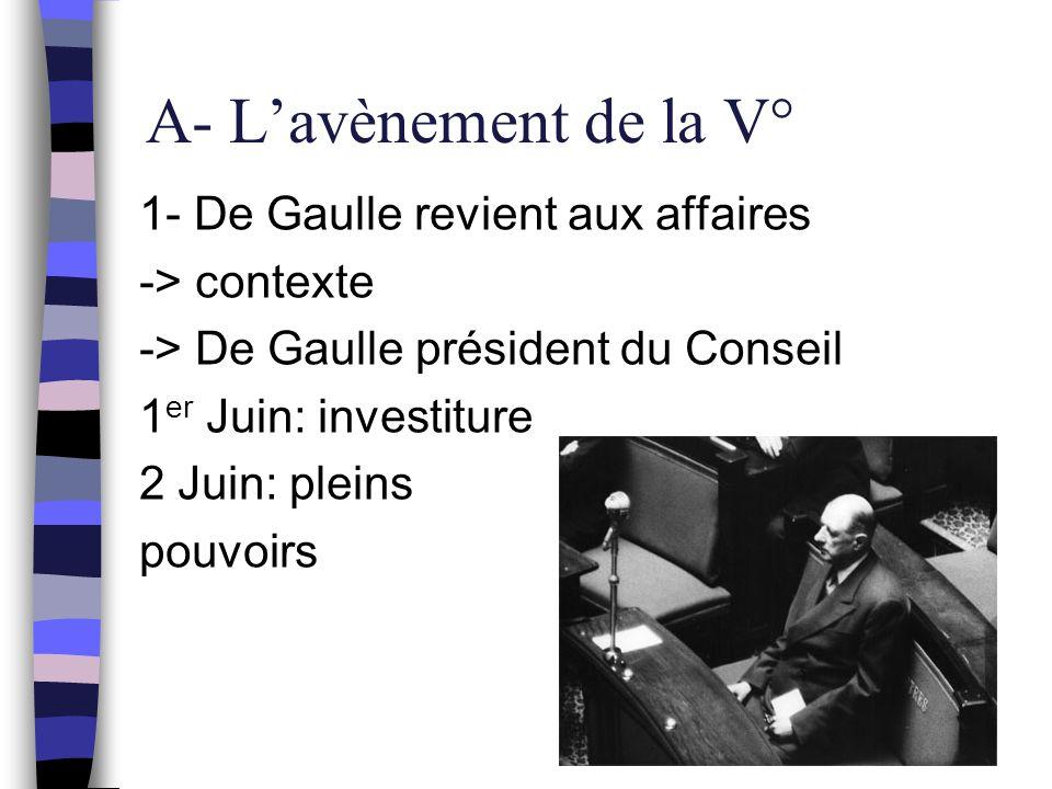A- L'avènement de la V° 1- De Gaulle revient aux affaires -> contexte -> De Gaulle président du Conseil 1 er Juin: investiture 2 Juin: pleins pouvoirs