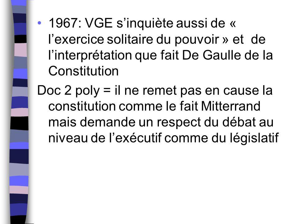 1967: VGE s'inquiète aussi de « l'exercice solitaire du pouvoir » et de l'interprétation que fait De Gaulle de la Constitution Doc 2 poly = il ne reme