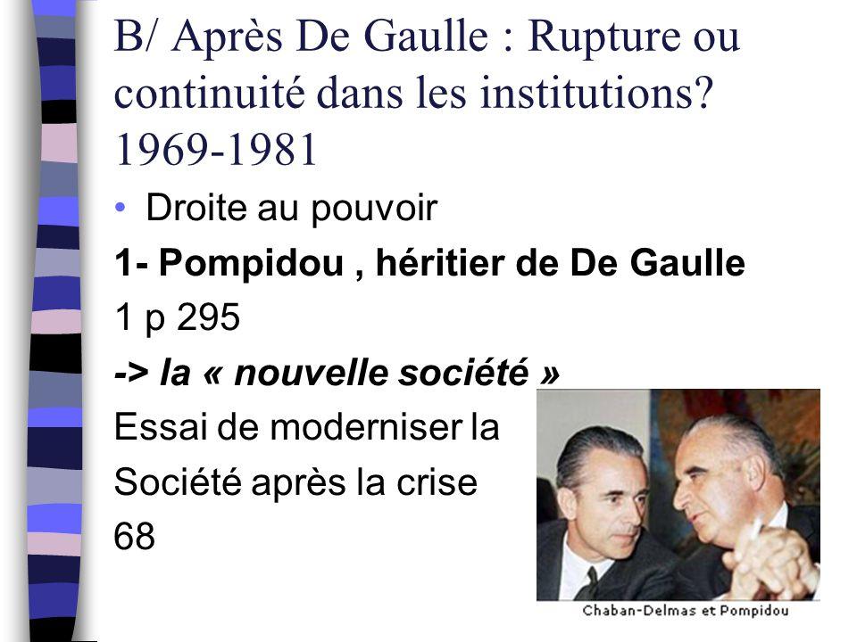 B/ Après De Gaulle : Rupture ou continuité dans les institutions? 1969-1981 Droite au pouvoir 1- Pompidou, héritier de De Gaulle 1 p 295 -> la « nouve
