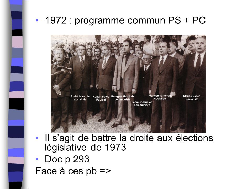 1972 : programme commun PS + PC Il s'agit de battre la droite aux élections législative de 1973 Doc p 293 Face à ces pb =>