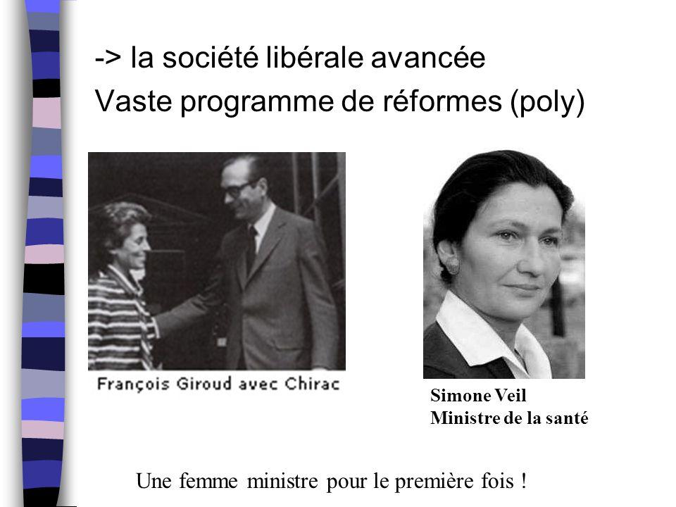-> la société libérale avancée Vaste programme de réformes (poly) Simone Veil Ministre de la santé Une femme ministre pour le première fois !