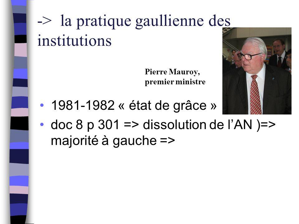 1981-1982 « état de grâce » doc 8 p 301 => dissolution de l'AN )=> majorité à gauche => -> la pratique gaullienne des institutions Pierre Mauroy, prem