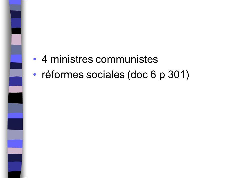 4 ministres communistes réformes sociales (doc 6 p 301)
