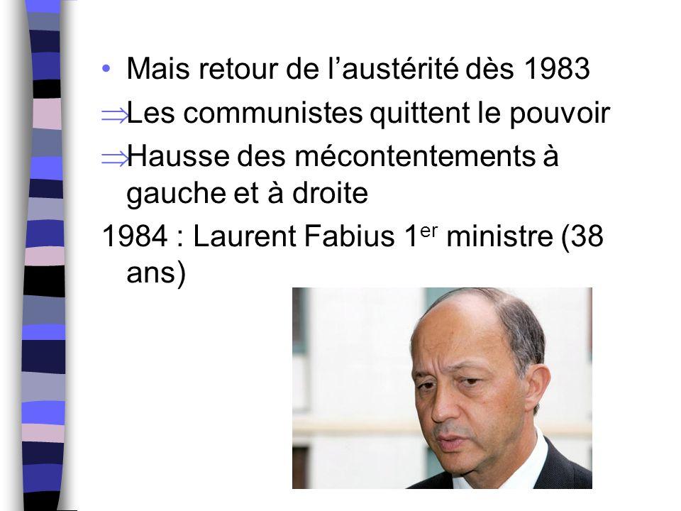 Mais retour de l'austérité dès 1983  Les communistes quittent le pouvoir  Hausse des mécontentements à gauche et à droite 1984 : Laurent Fabius 1 er