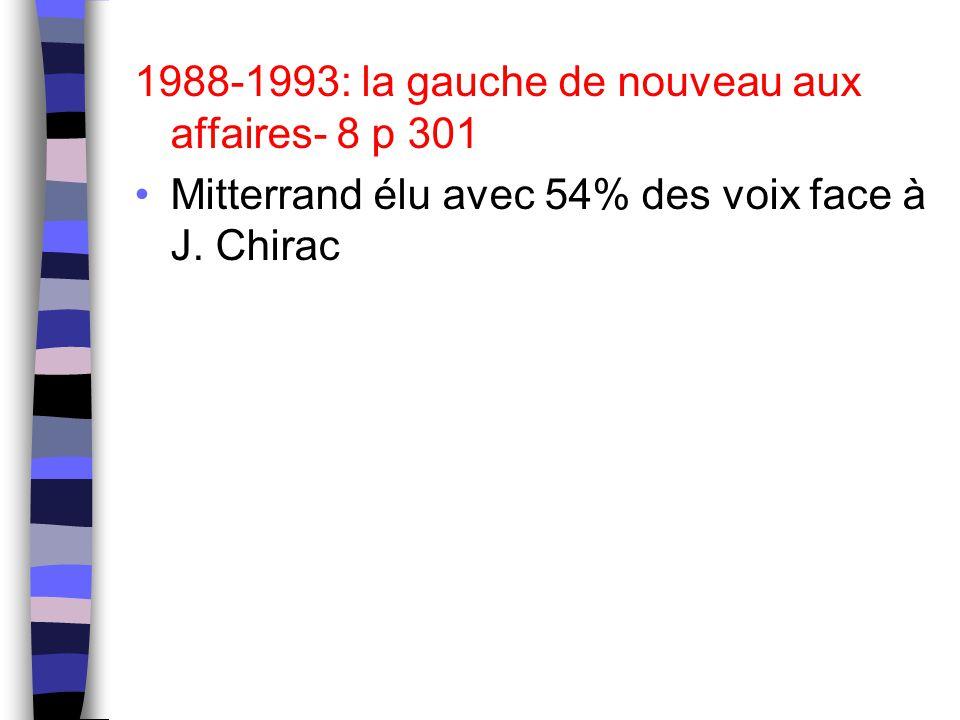 1988-1993: la gauche de nouveau aux affaires- 8 p 301 Mitterrand élu avec 54% des voix face à J. Chirac