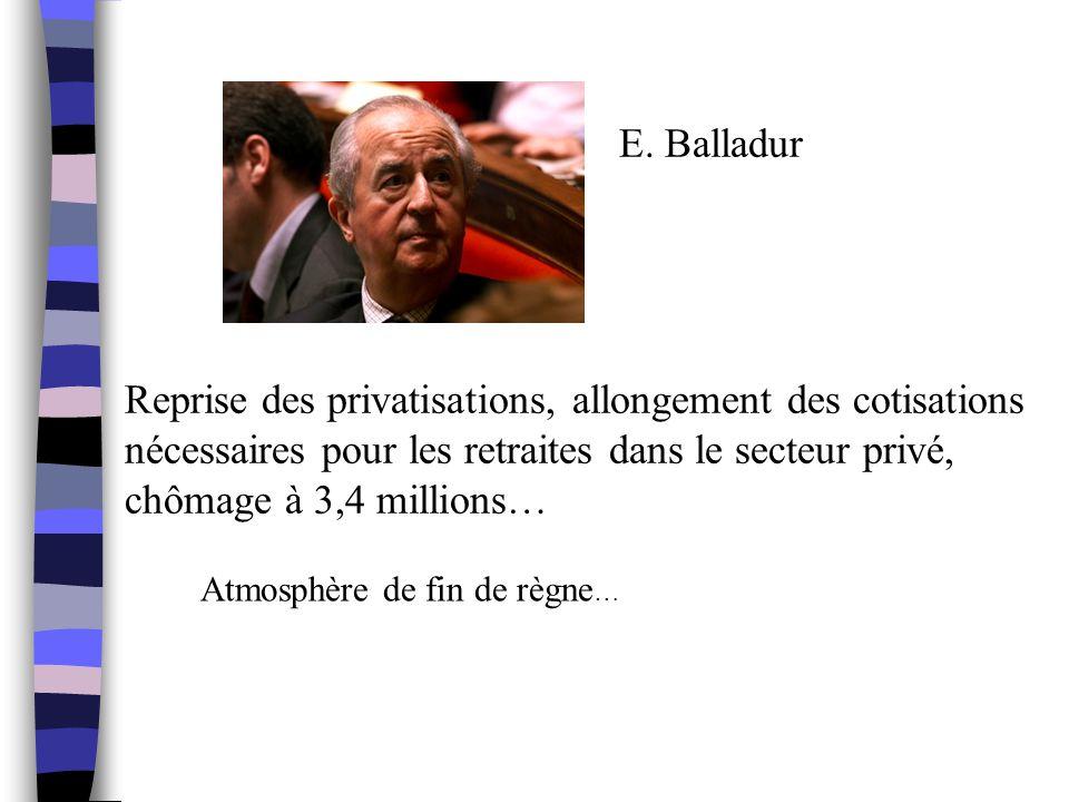 E. Balladur Reprise des privatisations, allongement des cotisations nécessaires pour les retraites dans le secteur privé, chômage à 3,4 millions… Atmo