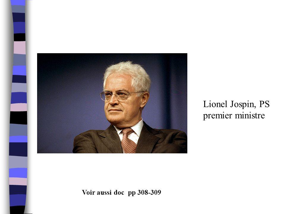 Lionel Jospin, PS premier ministre Voir aussi doc pp 308-309