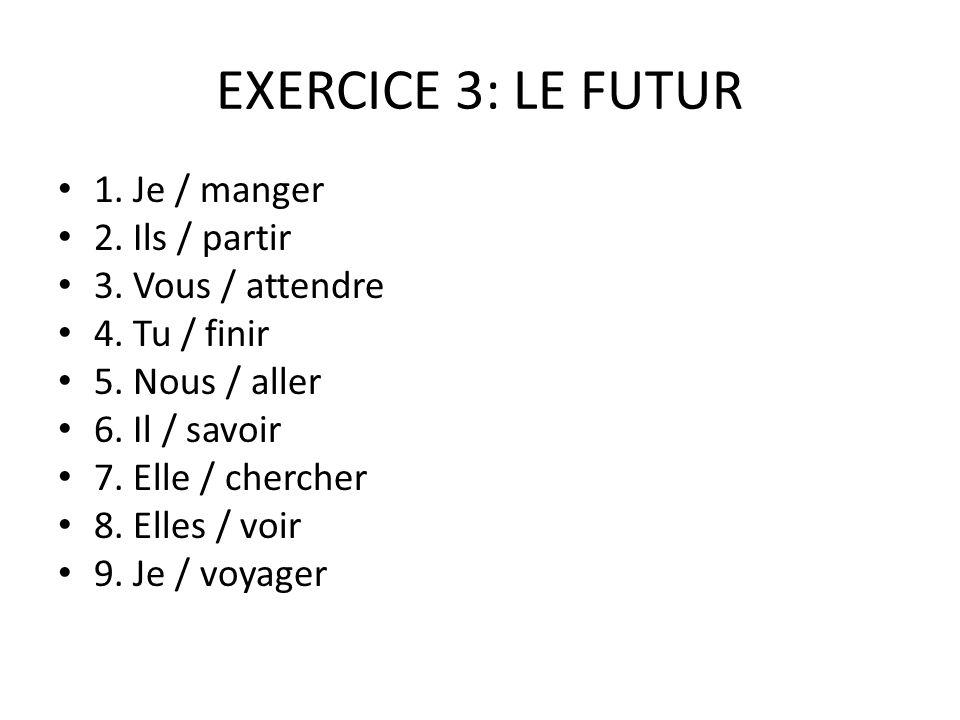 EXERCICE 3: LE FUTUR 1.Je / manger 2. Ils / partir 3.