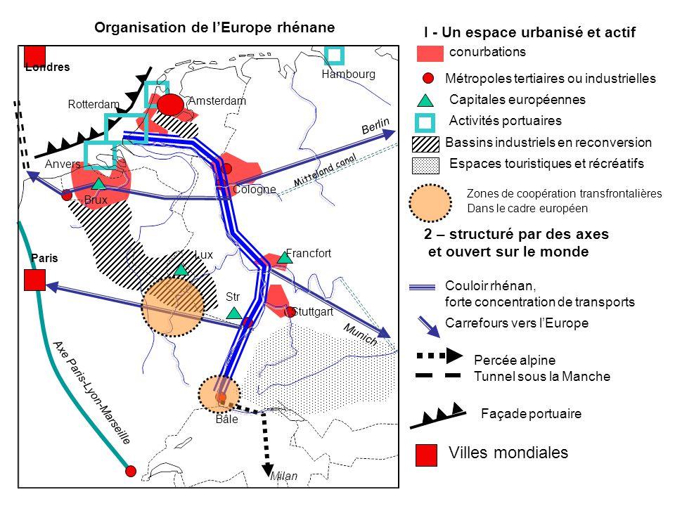 Organisation de l'Europe rhénane I - Un espace urbanisé et actif conurbations Métropoles tertiaires ou industrielles Capitales européennes Activités p