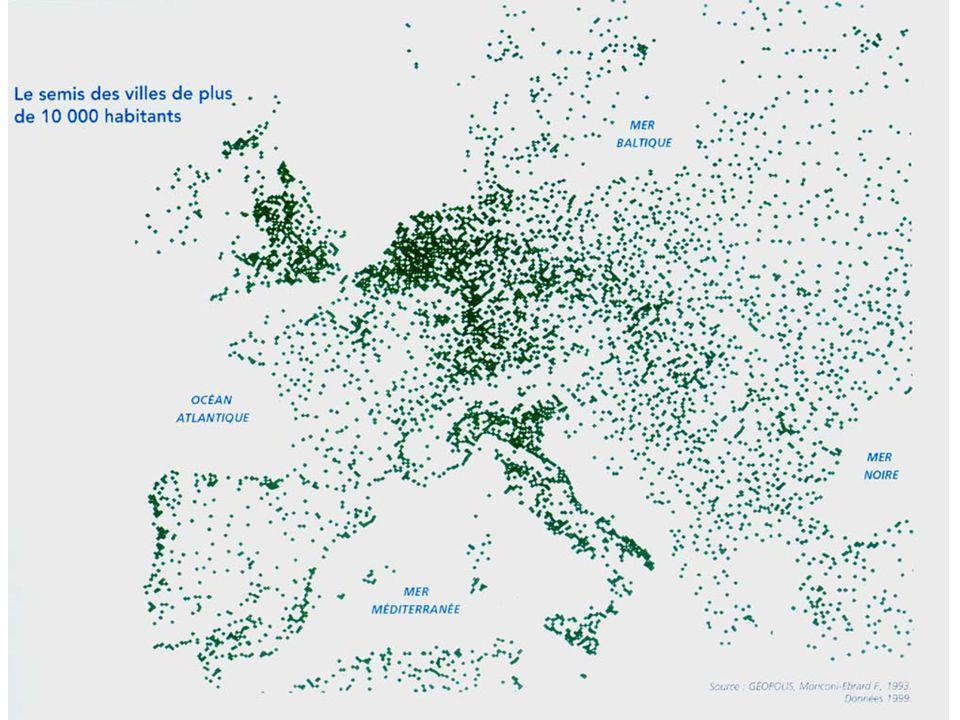 II) L'ESPACE RHÉNAN : UN ESPACE TRÈS URBANISE 1) 2) C'est une partie de la mégalopole européenne dont la population est dense (200 à 500 hab/km²) carte p 160 la population y est par ailleurs riche Des conurbations : espaces dans lesquels des métropoles sont proches les unes des autres 3) Carte 2 p 177 Métropoles de rayonnement international Francfort Anvers Rotterdam Amsterdam Essen Stuttgart RM RR RH RH Randstad Holland 6Mhab RR Rhin-Ruhr 11Mhab RM Rhin- Main II) L'ESPACE RHÉNAN : UN ESPACE ……………………..