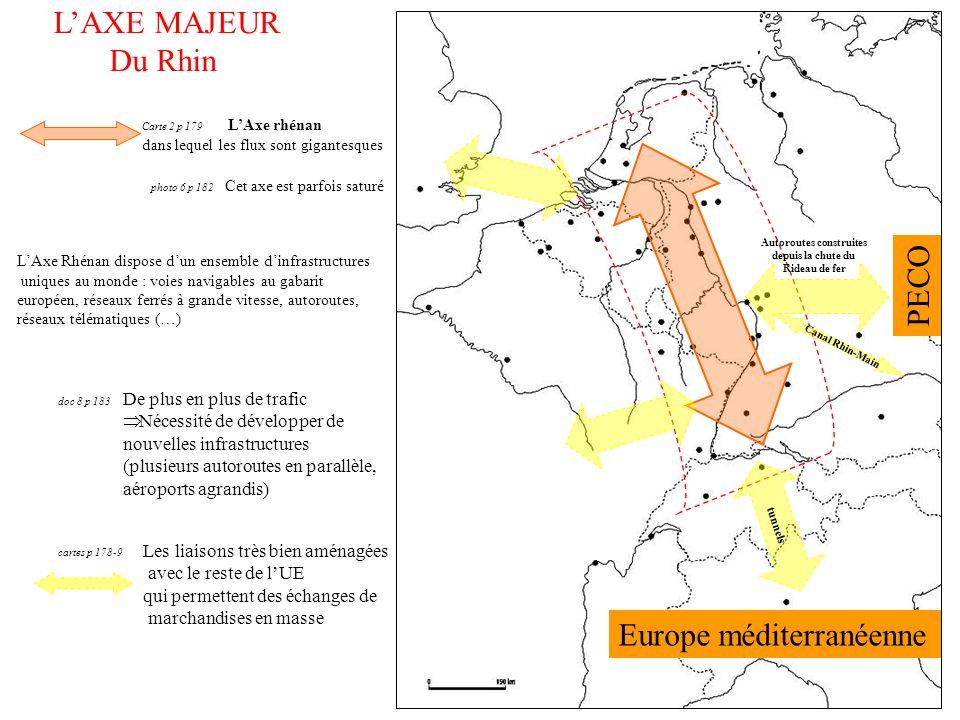 doc 8 p 183 cartes p 178-9 L'AXE MAJEUR Du Rhin Carte 2 p 179 L'Axe rhénan dans lequel les flux sont gigantesques L'Axe Rhénan dispose d'un ensemble d
