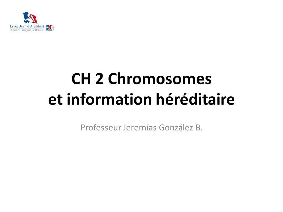 CH 2 Chromosomes et information héréditaire Professeur Jeremías González B.