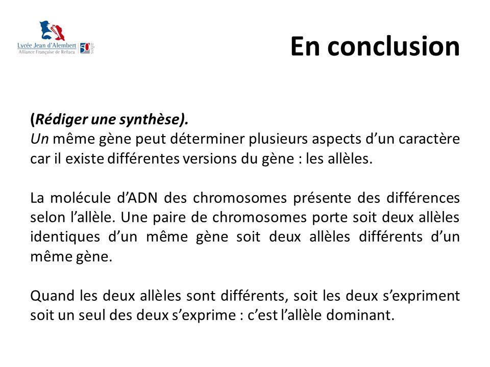 En conclusion (Rédiger une synthèse). Un même gène peut déterminer plusieurs aspects d'un caractère car il existe différentes versions du gène : les a