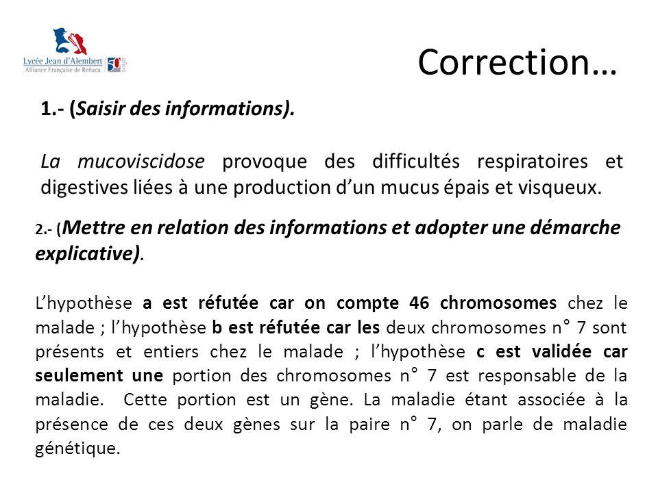 Correction… 1.- (Saisir des informations). La mucoviscidose provoque des difficultés respiratoires et digestives liées à une production d'un mucus épa