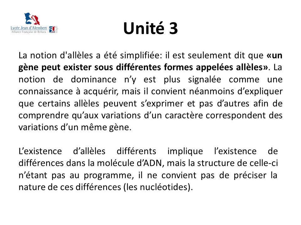 Unité 3 La notion d'allèles a été simplifiée: il est seulement dit que «un gène peut exister sous différentes formes appelées allèles». La notion de d
