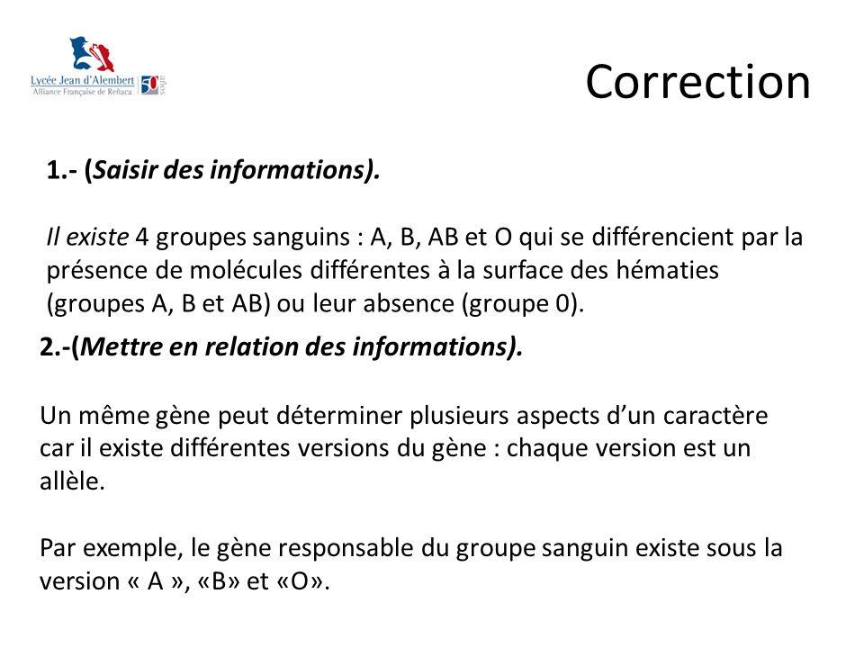 Correction 1.- (Saisir des informations). Il existe 4 groupes sanguins : A, B, AB et O qui se différencient par la présence de molécules différentes à