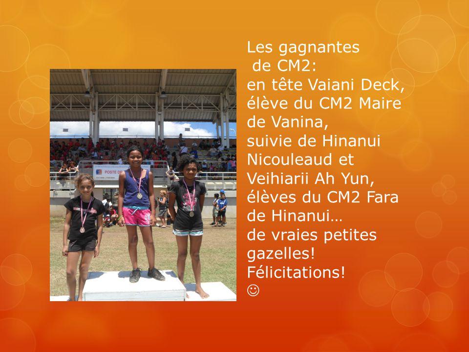 Les gagnantes de CM2: en tête Vaiani Deck, élève du CM2 Maire de Vanina, suivie de Hinanui Nicouleaud et Veihiarii Ah Yun, élèves du CM2 Fara de Hinan