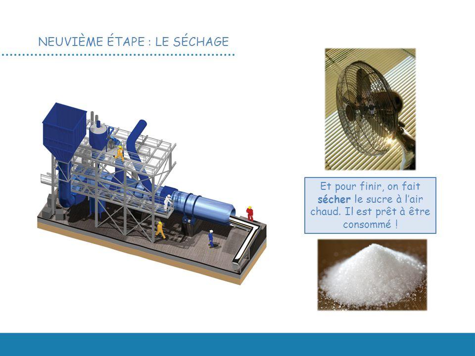 NEUVIÈME ÉTAPE : LE SÉCHAGE Et pour finir, on fait sécher le sucre à l'air chaud.